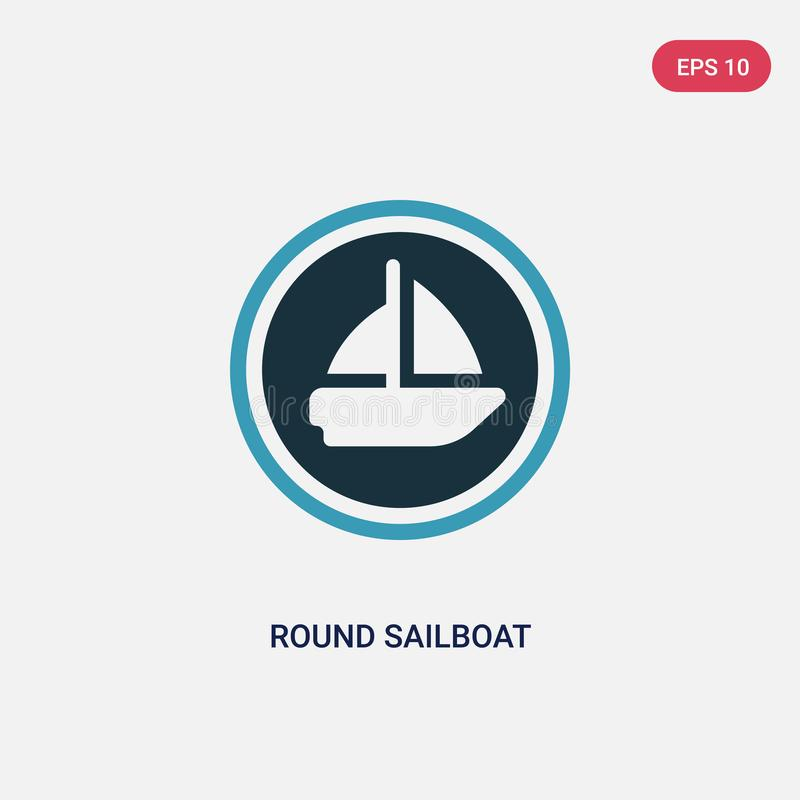 Two color round sailboat vector icon from people skills concept. isolated blue round sailboat vector sign symbol can be use for royalty free illustration