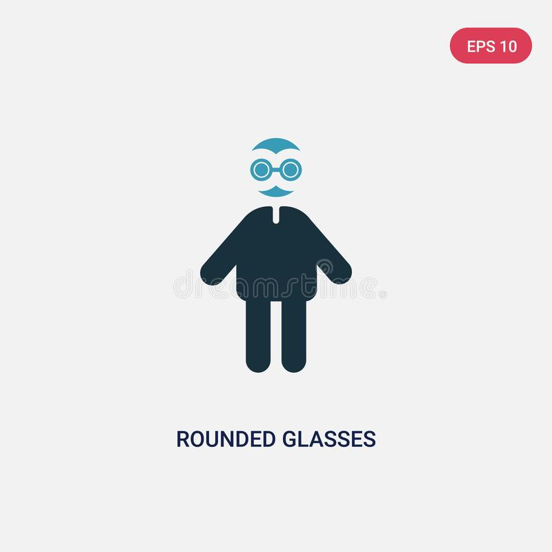Two color rounded glasses vector icon from people concept. isolated blue rounded glasses vector sign symbol can be use for web, stock illustration