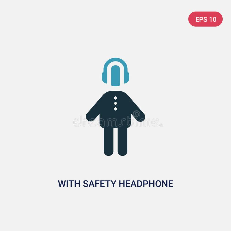 Two color with safety headphone vector icon from people concept. isolated blue with safety headphone vector sign symbol can be use royalty free illustration
