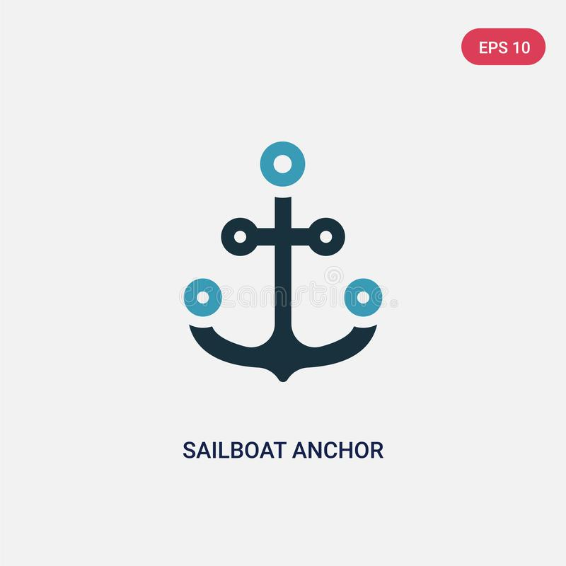 Two color sailboat anchor vector icon from people skills concept. isolated blue sailboat anchor vector sign symbol can be use for vector illustration