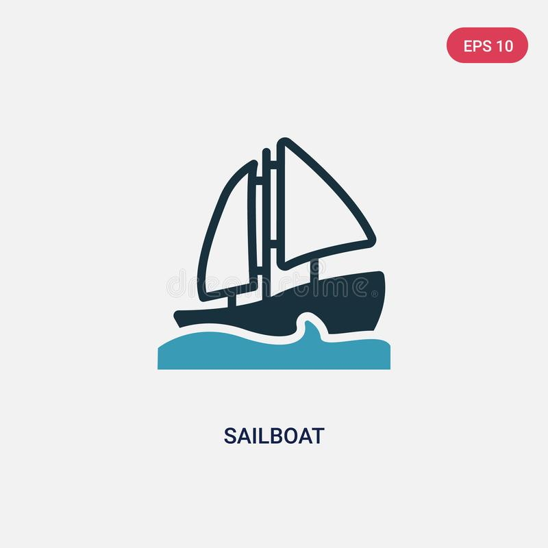 Two color sailboat vector icon from nautical concept. isolated blue sailboat vector sign symbol can be use for web, mobile and vector illustration