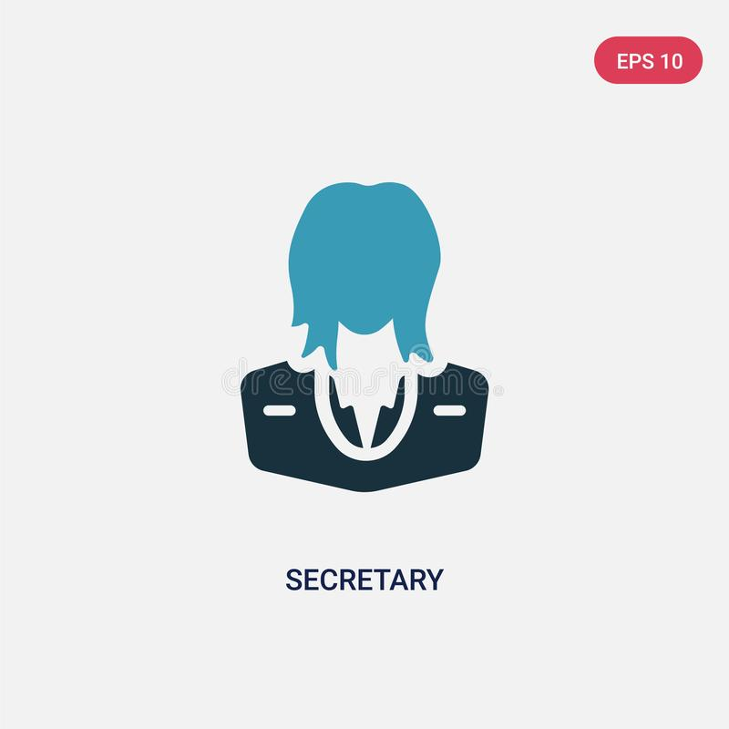 Two color secretary vector icon from professions concept. isolated blue secretary vector sign symbol can be use for web, mobile stock illustration