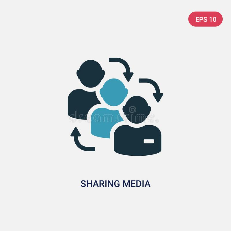 Two color sharing media vector icon from shapes concept. isolated blue sharing media vector sign symbol can be use for web, mobile royalty free illustration