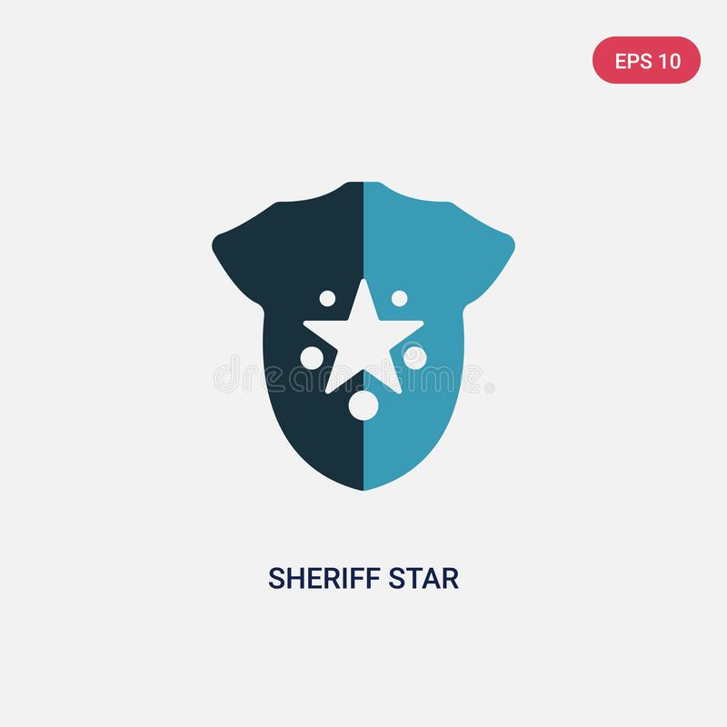 Two color sheriff star vector icon from signs concept. isolated blue sheriff star vector sign symbol can be use for web, mobile vector illustration