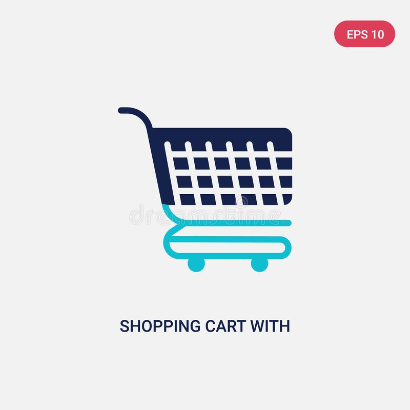 Two color shopping cart with grills vector icon from commerce concept. isolated blue shopping cart with grills vector sign symbol stock illustration