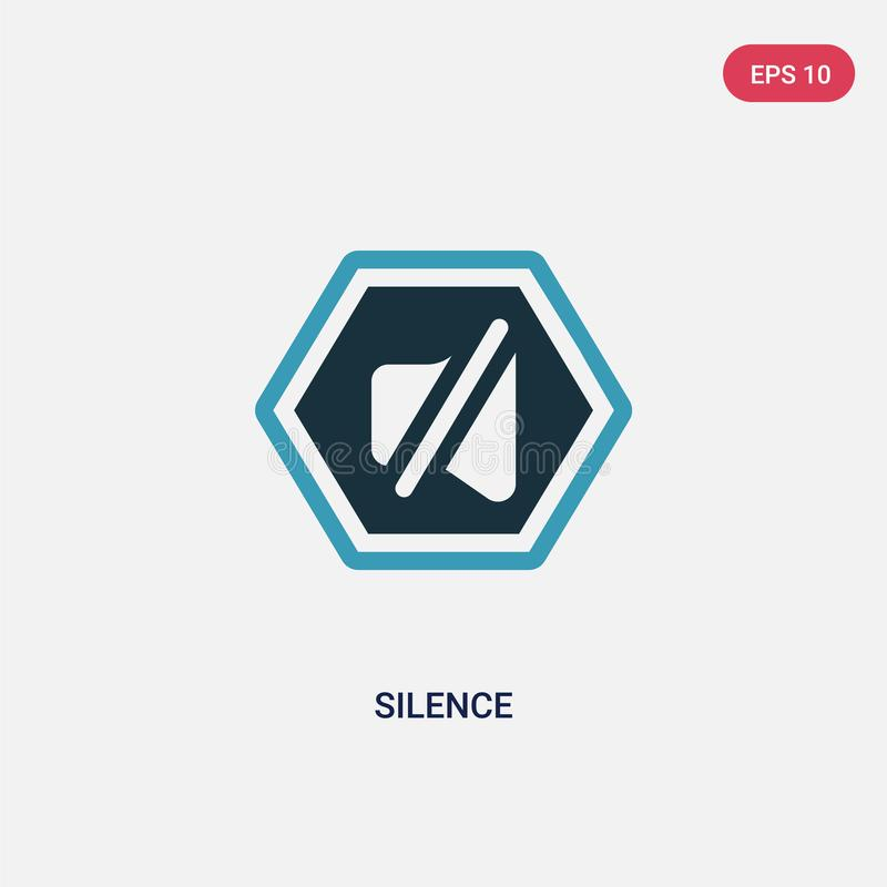 Two color silence vector icon from signs concept. isolated blue silence vector sign symbol can be use for web, mobile and logo. royalty free illustration