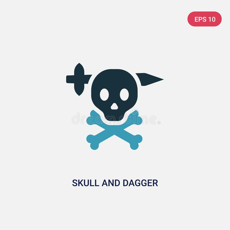 Two color skull and dagger vector icon from shapes concept. isolated blue skull and dagger vector sign symbol can be use for web, stock illustration
