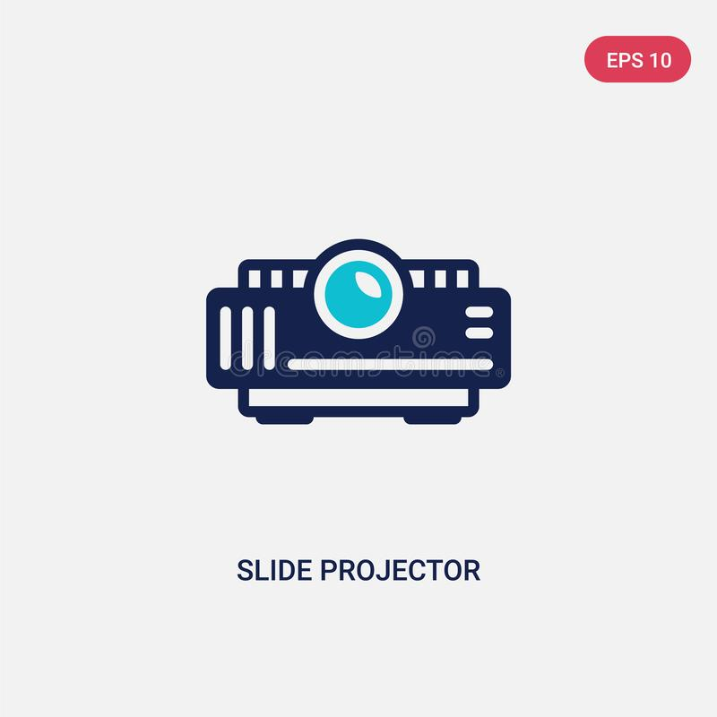 Two color slide projector vector icon from cinema concept. isolated blue slide projector vector sign symbol can be use for web,. Mobile and logo. eps 10 vector illustration