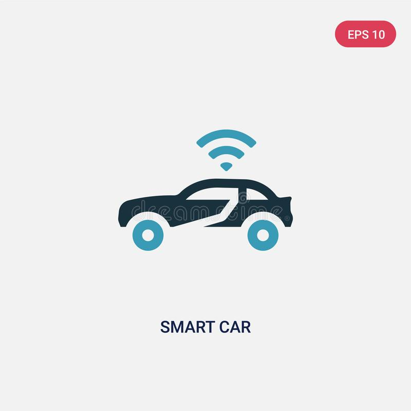Two color smart car vector icon from programming concept. isolated blue smart car vector sign symbol can be use for web, mobile stock illustration