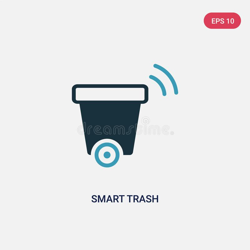 Two color smart trash vector icon from smart home concept. isolated blue smart trash vector sign symbol can be use for web, mobile royalty free illustration
