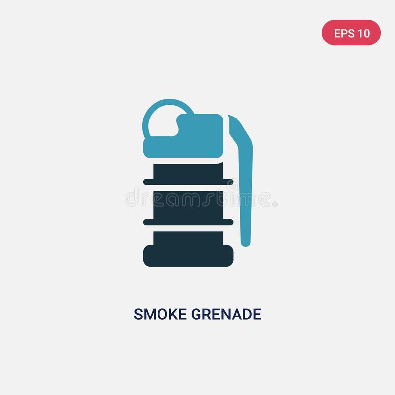 Two color smoke grenade vector icon from security concept. isolated blue smoke grenade vector sign symbol can be use for web, royalty free illustration
