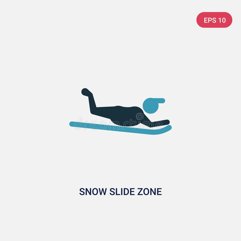 Two color snow slide zone vector icon from sports concept. isolated blue snow slide zone vector sign symbol can be use for web, stock illustration