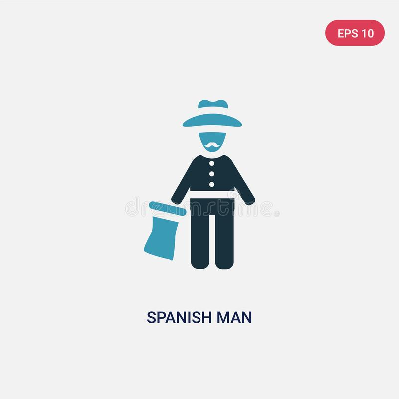 Two color spanish man vector icon from people concept. isolated blue spanish man vector sign symbol can be use for web, mobile and vector illustration
