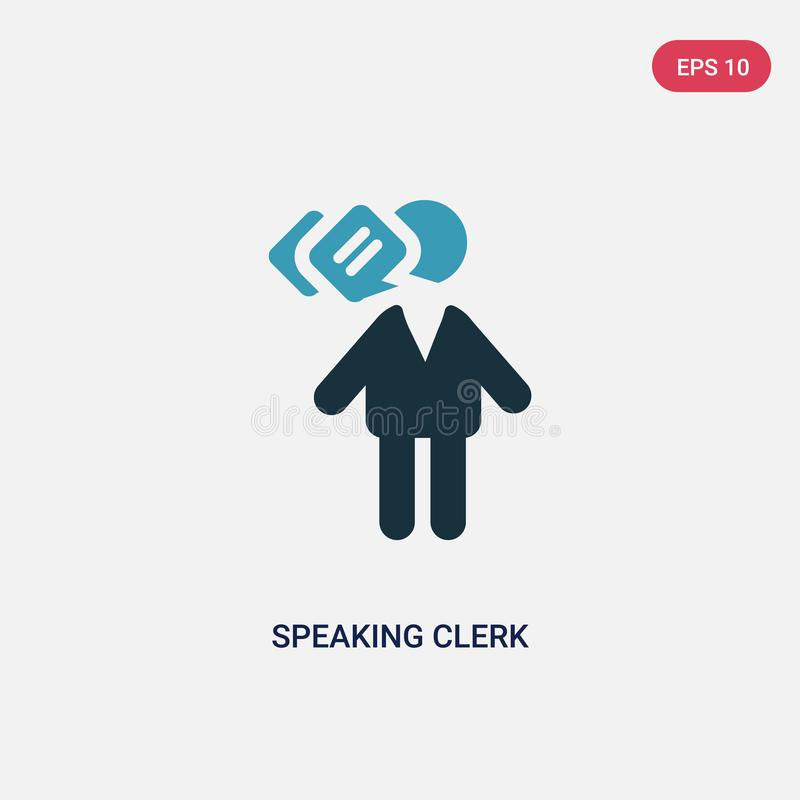 Two color speaking clerk vector icon from people concept. isolated blue speaking clerk vector sign symbol can be use for web, stock illustration