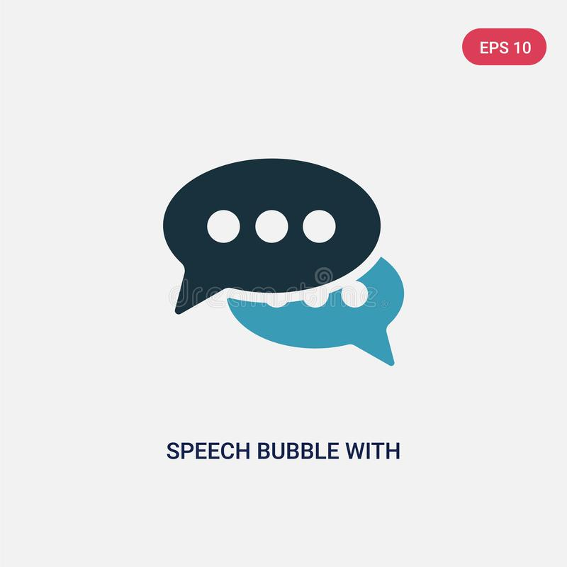 Two color speech bubble with ellipsis vector icon from shapes concept. isolated blue speech bubble with ellipsis vector sign stock illustration