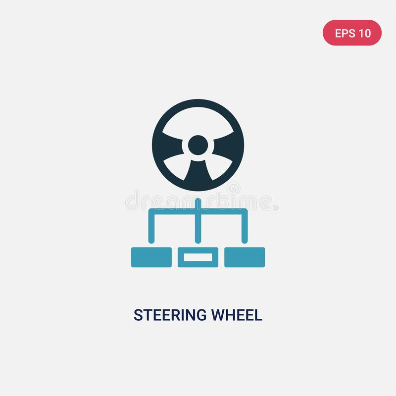 Two color steering wheel vector icon from strategy concept. isolated blue steering wheel vector sign symbol can be use for web,. Mobile and logo. eps 10 stock illustration