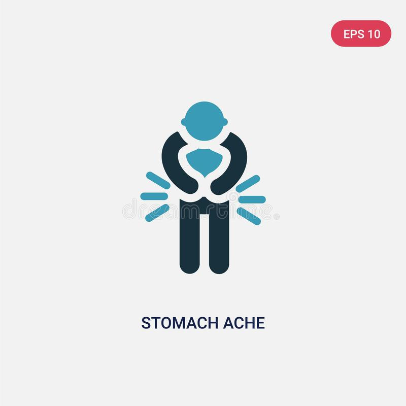 Two color stomach ache vector icon from people concept. isolated blue stomach ache vector sign symbol can be use for web, mobile. And logo. eps 10 stock illustration