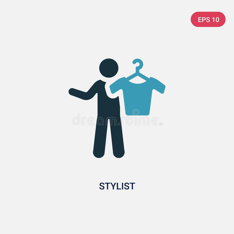 Two color stylist vector icon from people skills concept. isolated blue stylist vector sign symbol can be use for web, mobile and vector illustration