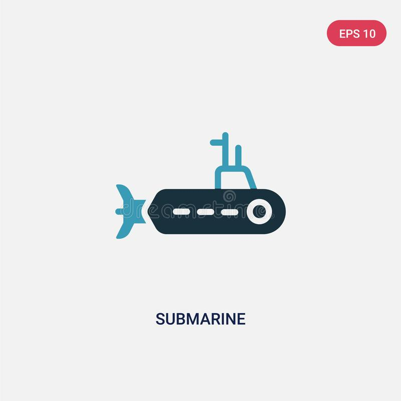 Two color submarine vector icon from nautical concept. isolated blue submarine vector sign symbol can be use for web, mobile and stock illustration