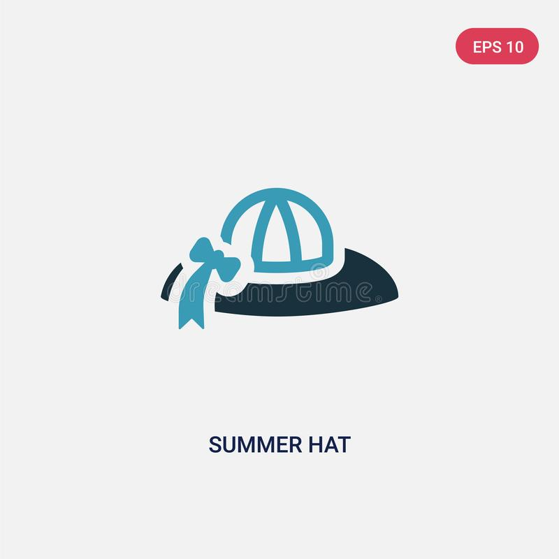 Two color summer hat vector icon from summer concept. isolated blue summer hat vector sign symbol can be use for web, mobile and vector illustration