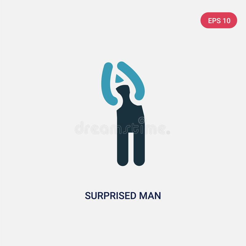 Two color surprised man vector icon from people concept. isolated blue surprised man vector sign symbol can be use for web, mobile vector illustration