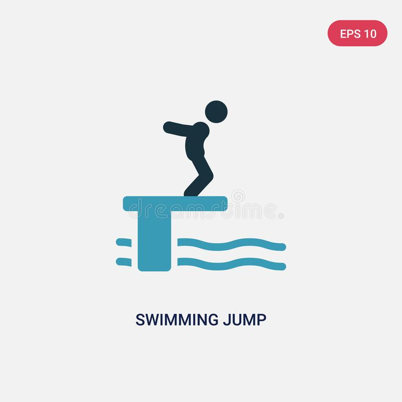 Two color swimming jump vector icon from sports concept. isolated blue swimming jump vector sign symbol can be use for web, mobile royalty free illustration