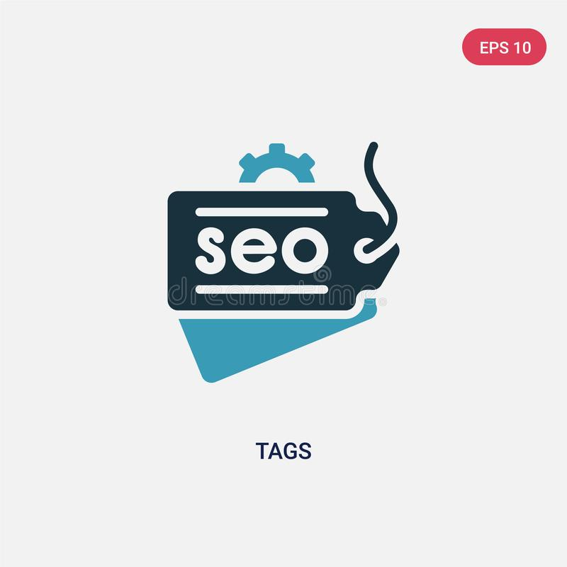 Two color tags vector icon from search engine optimization concept. isolated blue tags vector sign symbol can be use for web, vector illustration