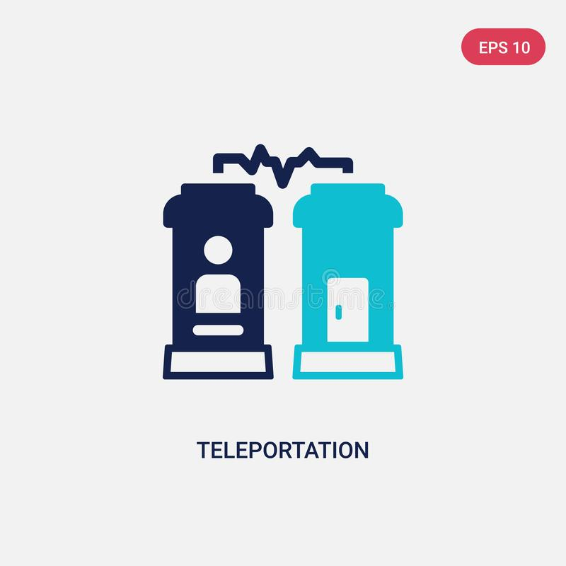 Two color teleportation vector icon from future technology concept. isolated blue teleportation vector sign symbol can be use for royalty free illustration