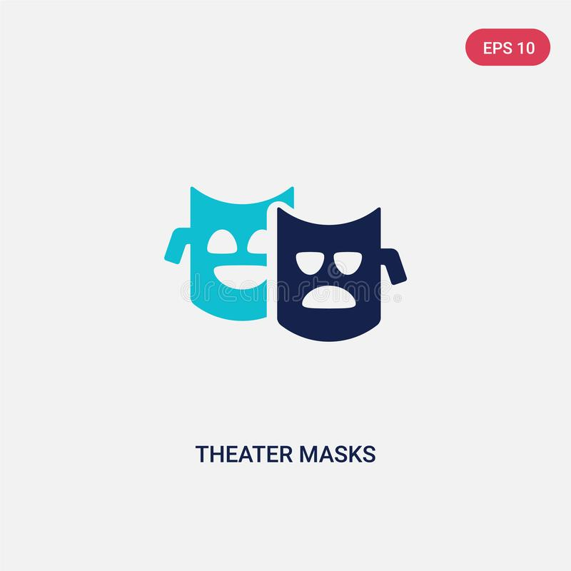 Two color theater masks vector icon from brazilia concept. isolated blue theater masks vector sign symbol can be use for web, royalty free illustration