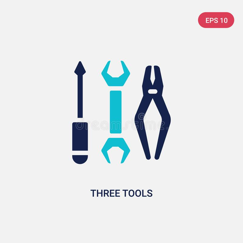 Two color three tools vector icon from construction concept. isolated blue three tools vector sign symbol can be use for web,. Mobile and logo. eps 10 stock illustration