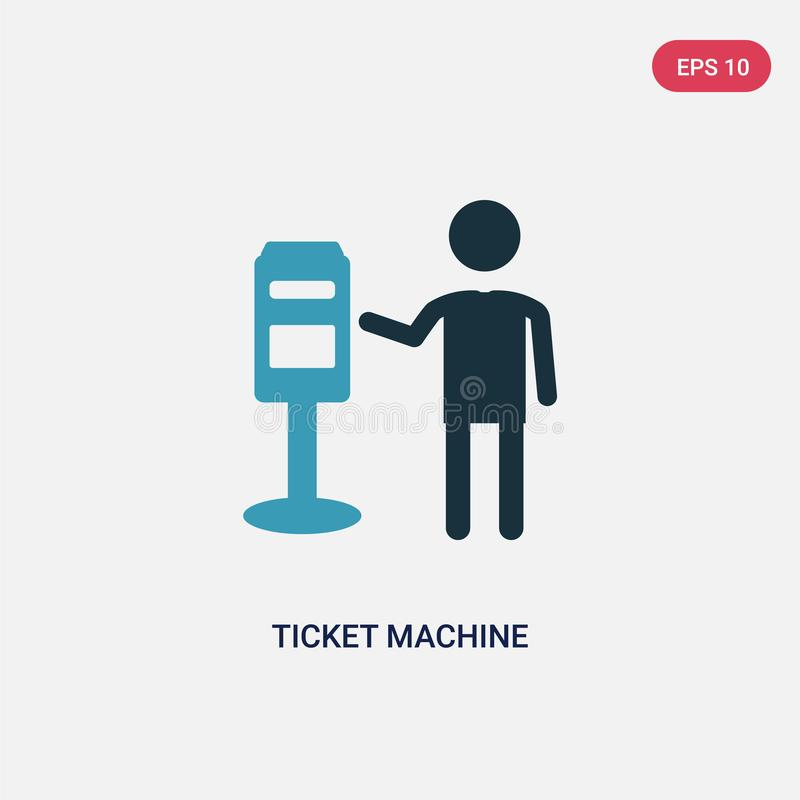 Two color ticket machine vector icon from people concept. isolated blue ticket machine vector sign symbol can be use for web, vector illustration