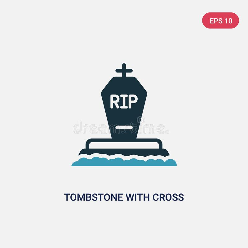 Two color tombstone with cross vector icon from other concept. isolated blue tombstone with cross vector sign symbol can be use. For web, mobile and logo. eps vector illustration