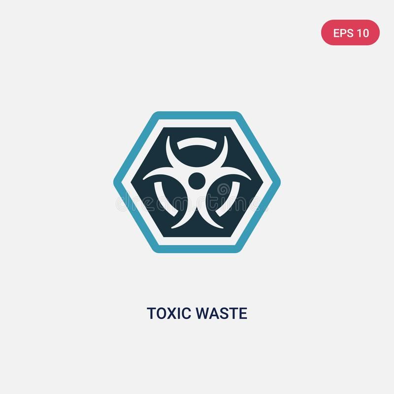 Two color toxic waste vector icon from signs concept. isolated blue toxic waste vector sign symbol can be use for web, mobile and royalty free illustration