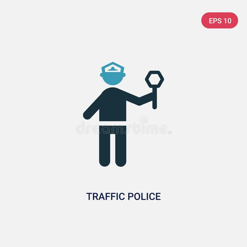 Two color traffic police vector icon from people concept. isolated blue traffic police vector sign symbol can be use for web, vector illustration
