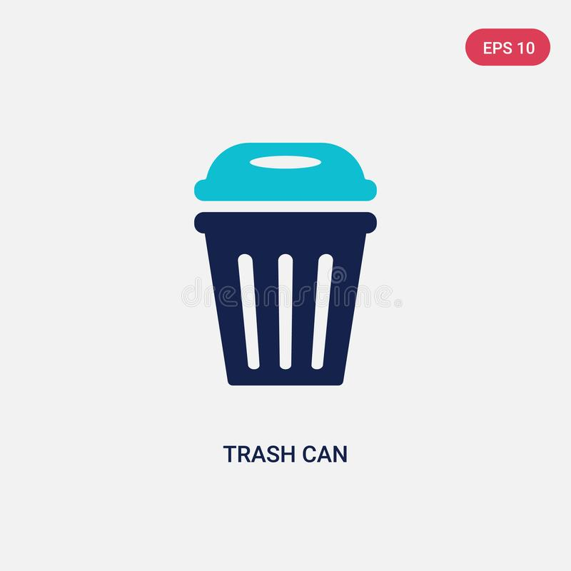 Two color trash can vector icon from american football concept. isolated blue trash can vector sign symbol can be use for web, royalty free illustration