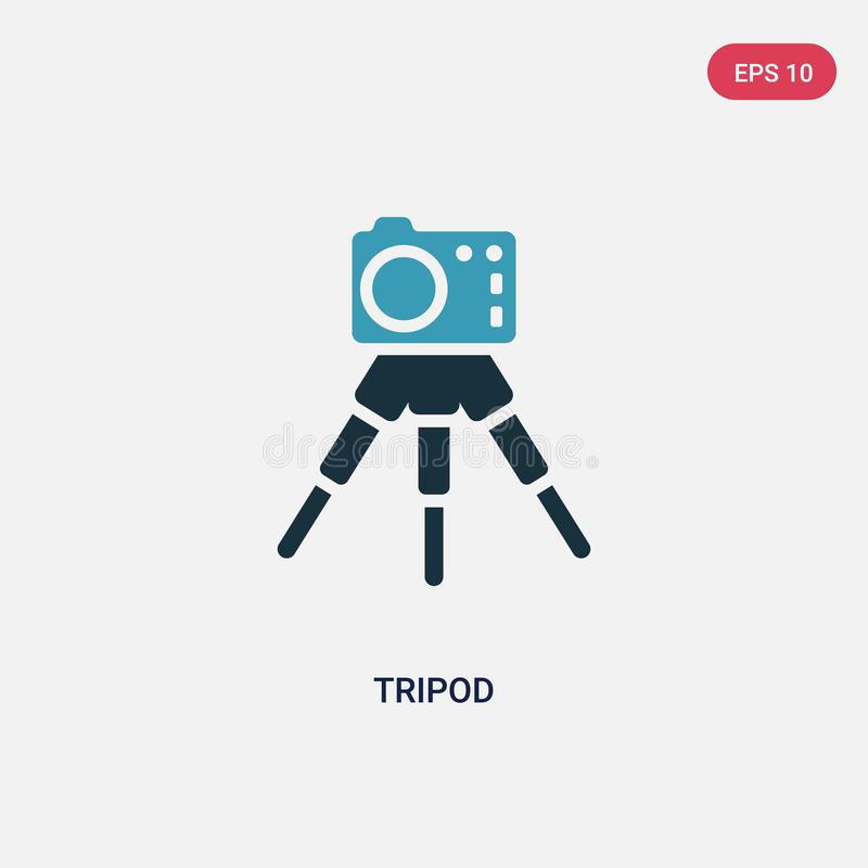 Two color tripod vector icon from photography concept. isolated blue tripod vector sign symbol can be use for web, mobile and logo royalty free illustration