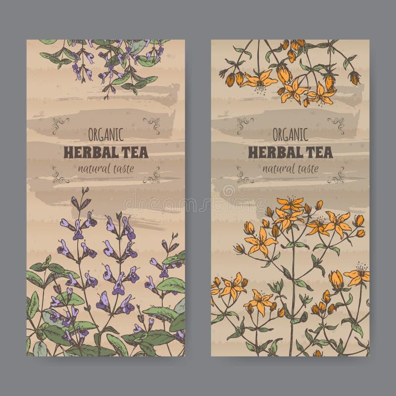 Two color vintage labels for sage and Saint John wort. stock illustration