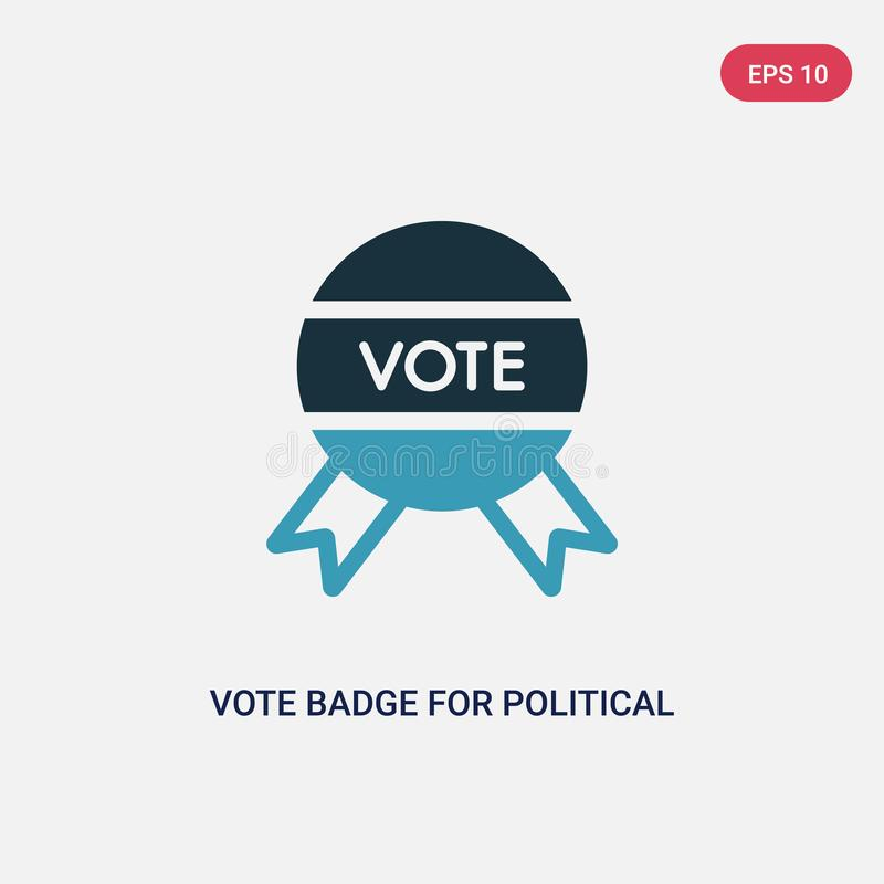 Two color vote badge for political elections vector icon from political concept. isolated blue vote badge for political elections royalty free illustration