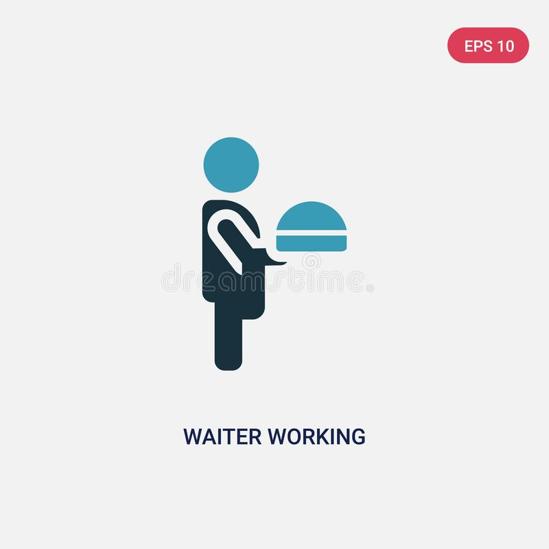 Two color waiter working vector icon from people concept. isolated blue waiter working vector sign symbol can be use for web, royalty free illustration
