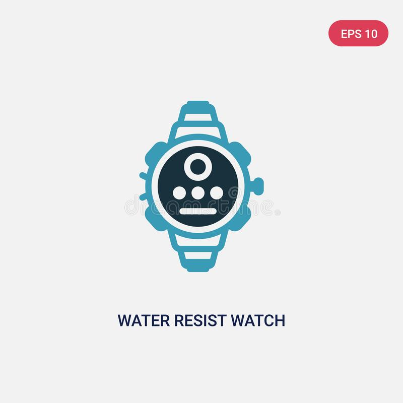 Two color water resist watch vector icon from nautical concept. isolated blue water resist watch vector sign symbol can be use for royalty free illustration