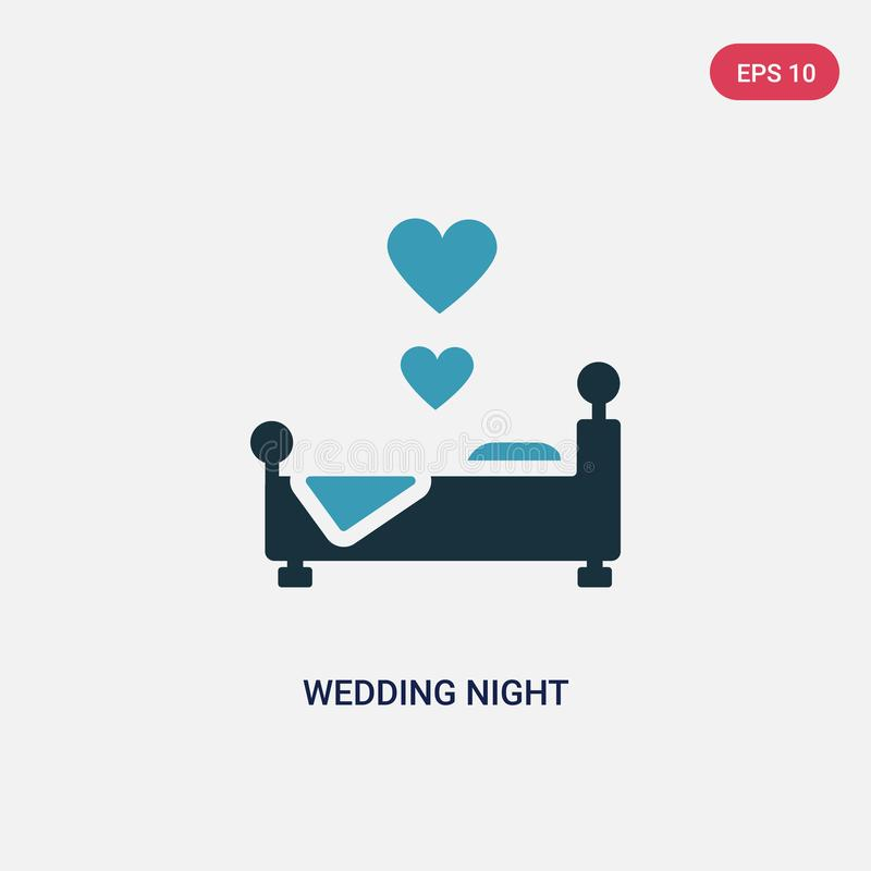 Two color wedding night vector icon from shapes concept. isolated blue wedding night vector sign symbol can be use for web, mobile stock illustration