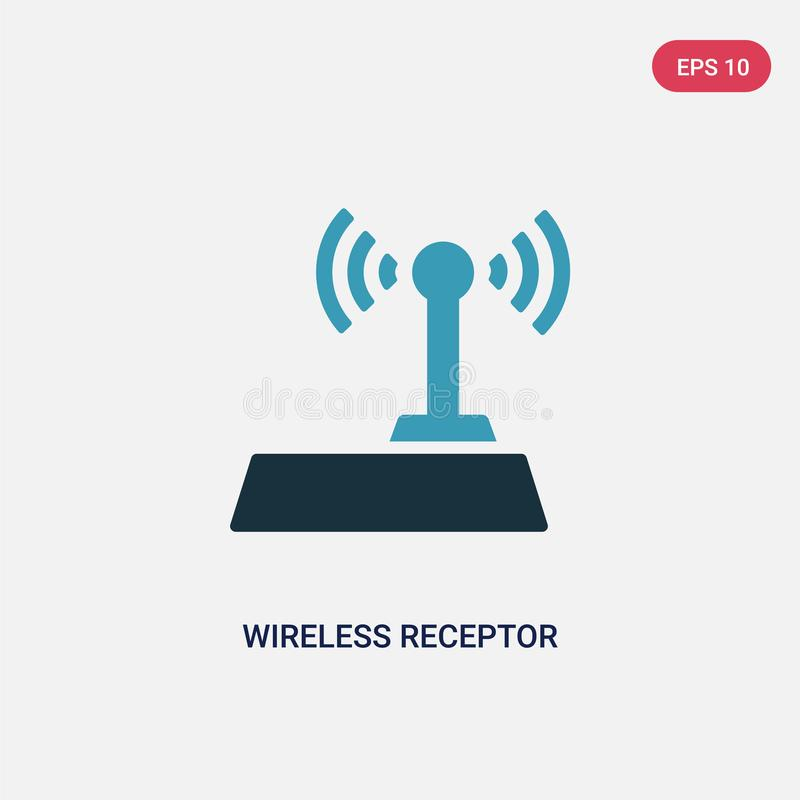 Two color wireless receptor vector icon from signs concept. isolated blue wireless receptor vector sign symbol can be use for web. Mobile and logo. eps 10 royalty free illustration