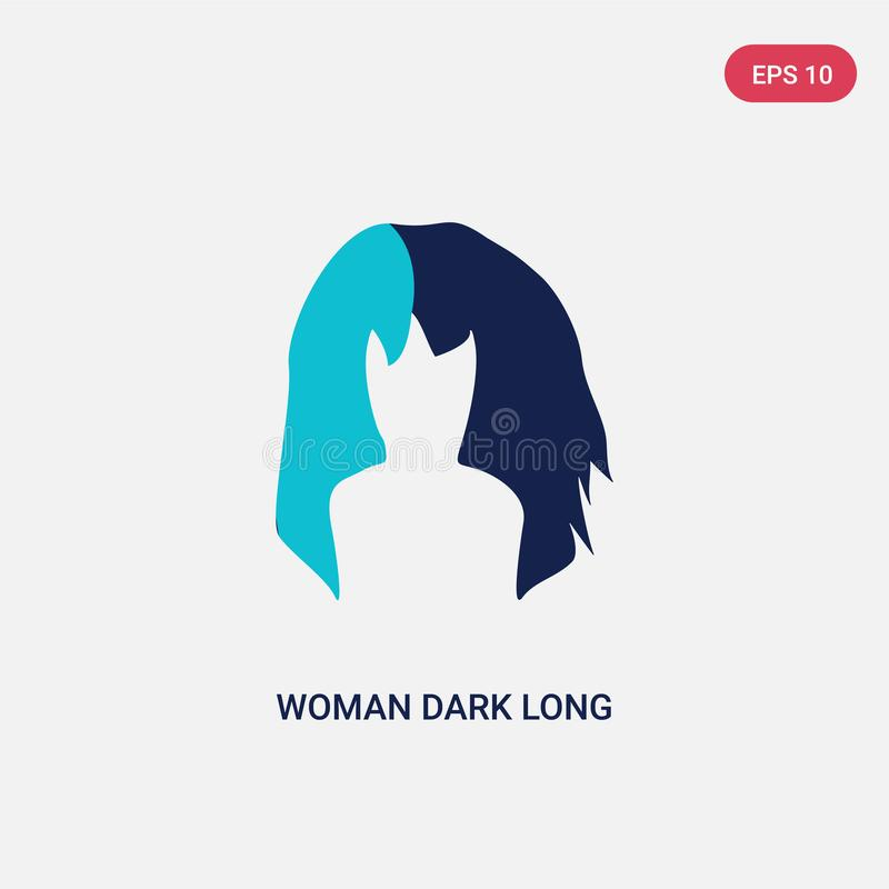 Two color woman dark long hair vector icon from human body parts concept. isolated blue woman dark long hair vector sign symbol royalty free illustration