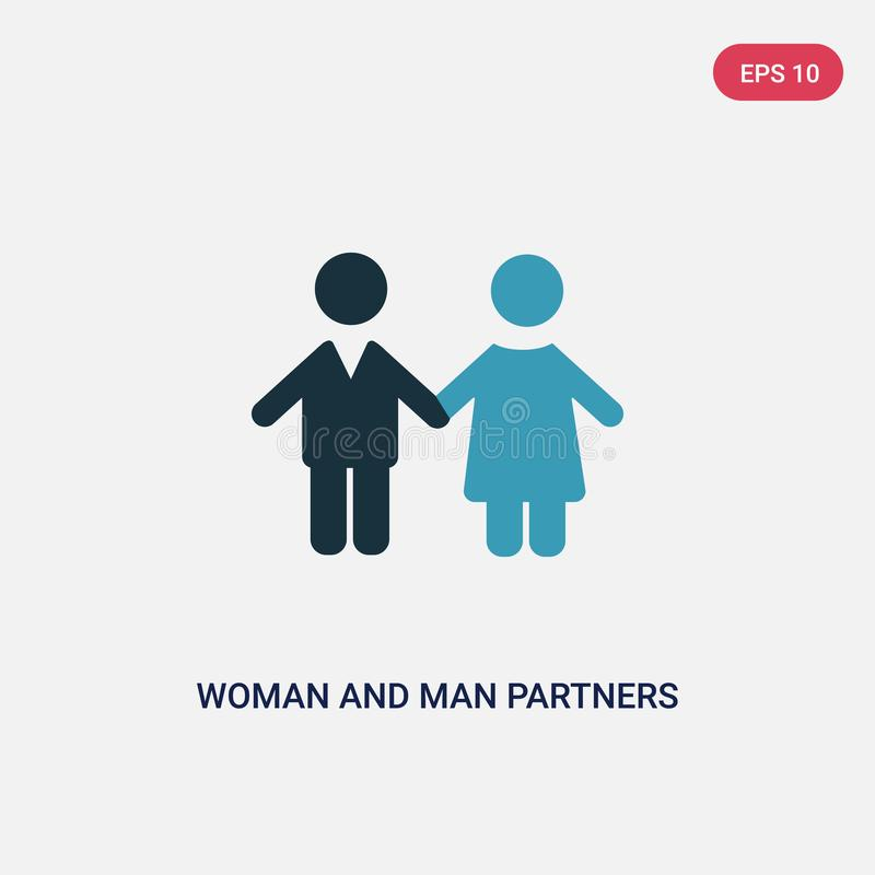 Two color woman and man partners vector icon from people concept. isolated blue woman and man partners vector sign symbol can be royalty free illustration
