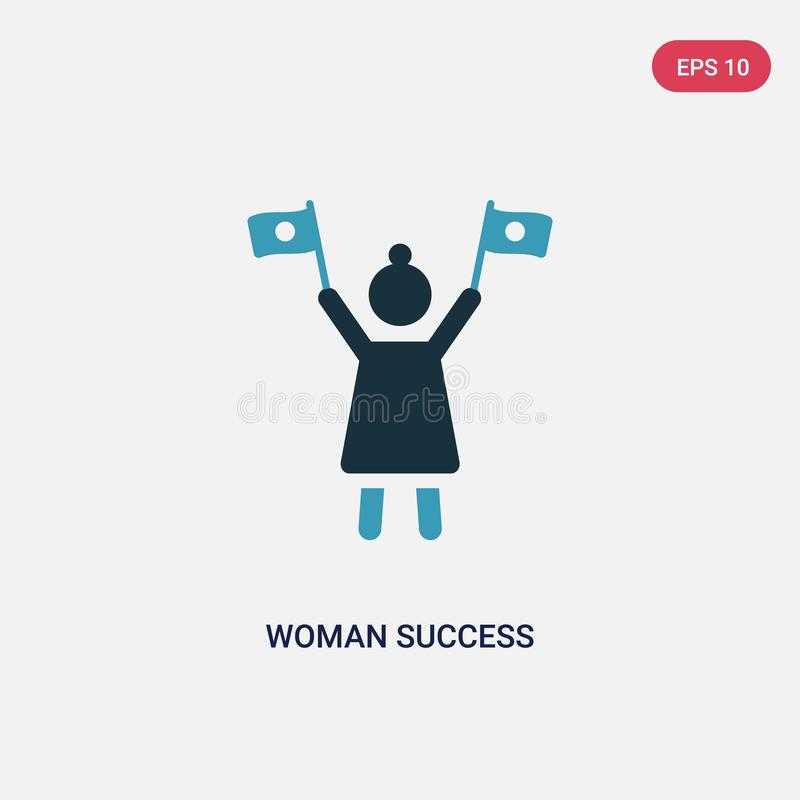 Two color woman success vector icon from seo and web concept. isolated blue woman success vector sign symbol can be use for web, vector illustration