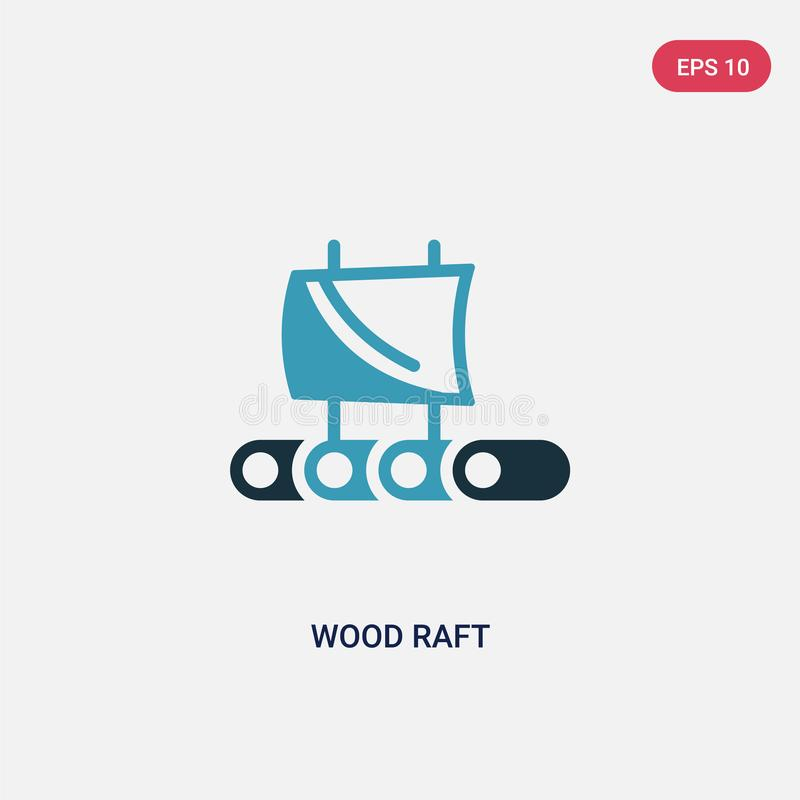 Two color wood raft vector icon from nautical concept. isolated blue wood raft vector sign symbol can be use for web, mobile and vector illustration