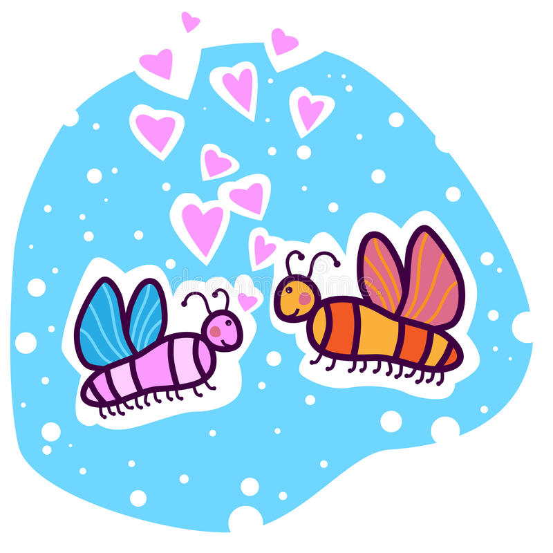 Two colored butterflies in love royalty free illustration