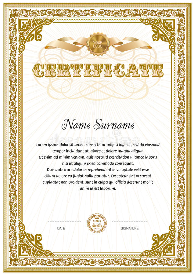 Two Colored Certificate Blank Template Stock Illustration