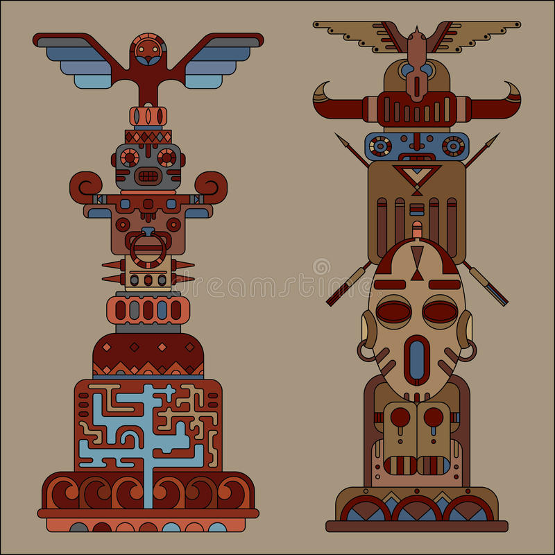 Two colored totem poles. Two ethnic colored totem poles, vector illustration, indian and aztec motif vector illustration