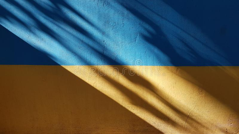 Two-colored wall with dark diagonal shadow. And blurry shadows from trees. Flat painted wall surface. Abstract background of blue and yellow stripes. Colors of stock photography